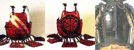 """These three  okegawa dō  were made for retainers. Note the """"old pattern"""" of six lames in the  dō."""
