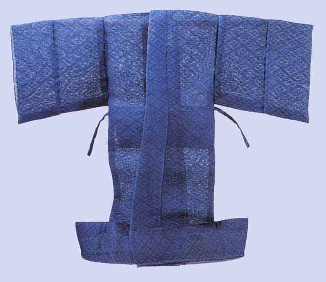 Front of a blue, patterned, unlined summer  nōshi.