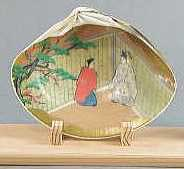 An example of a modern  kai-awase  shell, with a scene inspired by the  Tale of Genji.