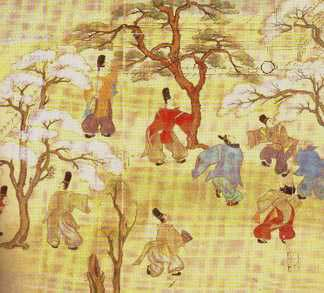 Aristocrats playing  kemari .  (The ball is at the upper right.)