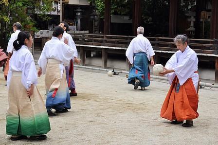 Modern  kemari  practice at a shrine in Kyoto.