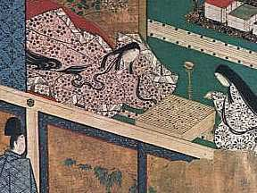 A scene from the Tale of Genji, showing a  go  game in process.