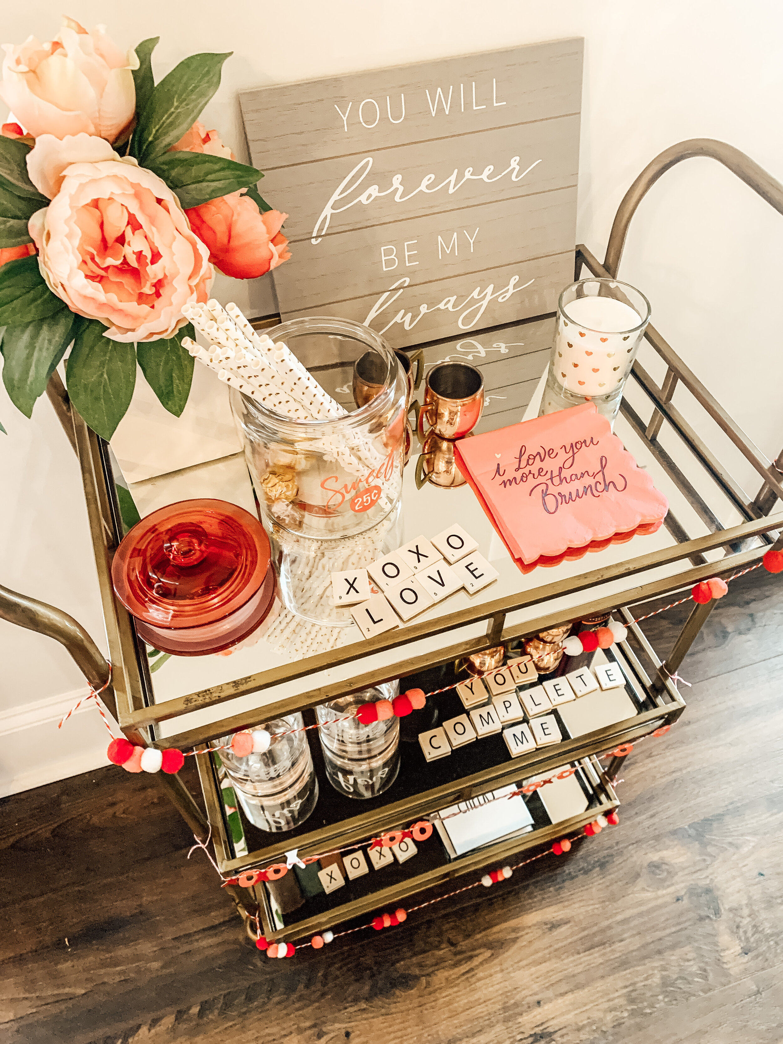 Valentines Inspired Bar Cart Decor Home With Joanie