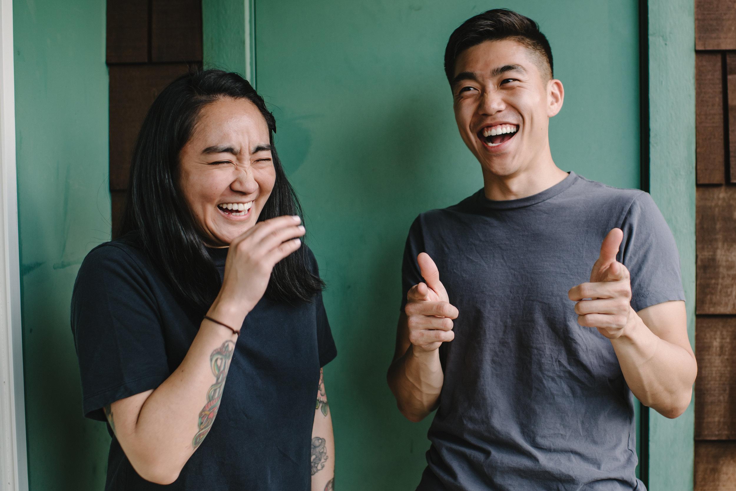 Aya Tiffany Sato, SPAAC Founder with Rev. Thomas Yang, doing finger guns / Photo by Jenny HJ Kim