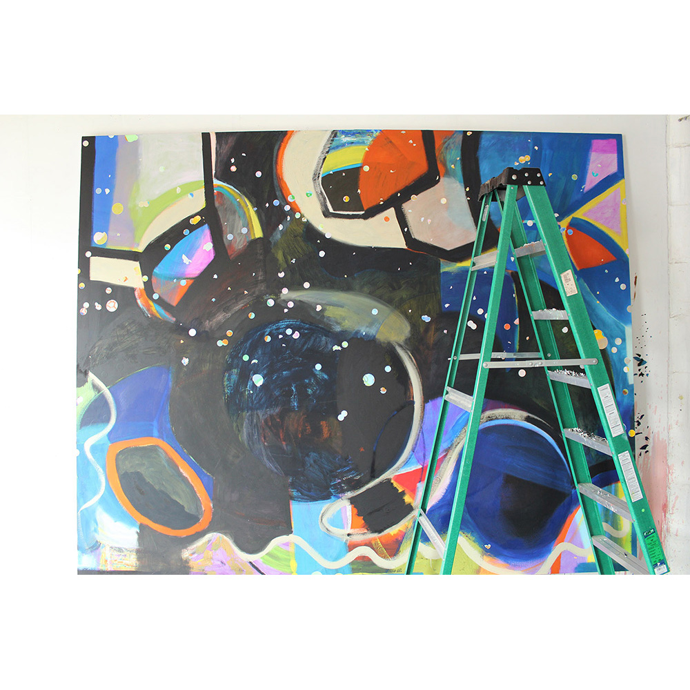 Progress photo, Data, Disorientation, the Big Bang (2015), 244 x 305 cm, oil on linen
