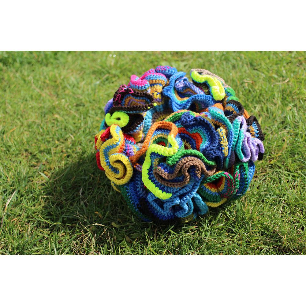 Fukushima Coral (2014), diameter 30cm, merino wool