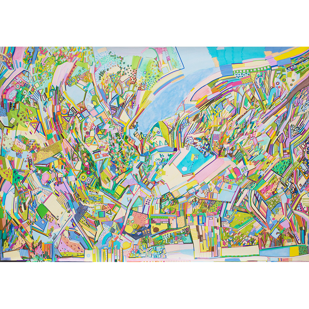 Emergent Park (2017), 70 x 100 cm, india ink marker and watercolor pencil on stone paper