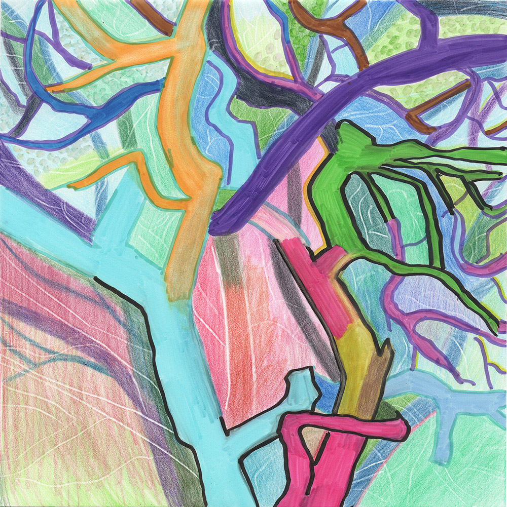Tree (2016), 20 x 20 cm, india ink marker and watercolor pencil on stone paper, sold