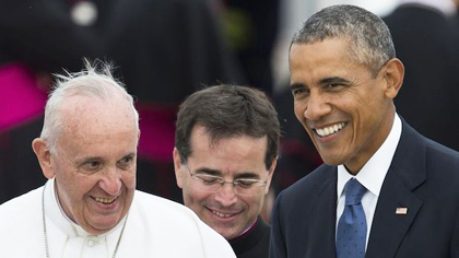 Pope Francis with Barack Obama, during his visit to the USA.