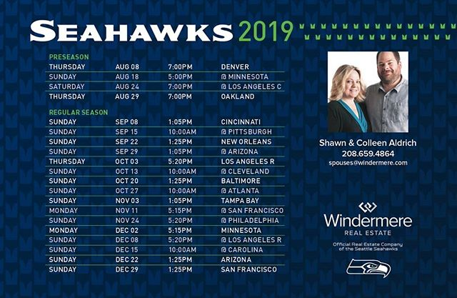 Watch your mailbox for a #seahawks schedule