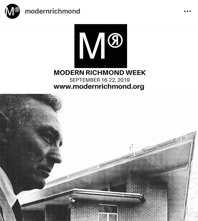***TICKET SALES LIVE AT 10 AM***Proud of my Modern Richmond Crew for the work we put into MODERN RICHMOND WEEK 2019. September 16-22. This year we are focusing on Frederick 'Bud' Hyland, a local midcentury architect. Go to www.modernrichmond.org for a list of events or visit us on Facebook!  @modernrichmond