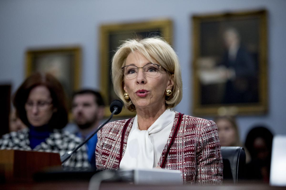 Education Secretary Betsy DeVos speaks during a House Appropriations subcommittee hearing on a budget on Capitol Hill in Washington, Tuesday, March 26, 2019.  AP Photo/Andrew Harnik
