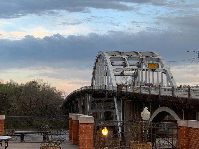 The Edmund Pettus Bridge was the site of Bloody Sunday in 1965, where police officers were met with African-American suffrage marchers. The Justice Tour made a stop at the bridge, where they met a woman who marched at just 14 years old.  Photo courtesy of Julia Close