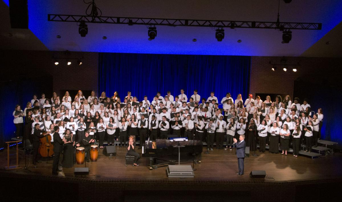 160 high school students from various schools performed in the annual Honor Choir concert held in the Conn Center.  Photo by Billie Burns, Staff Photographer