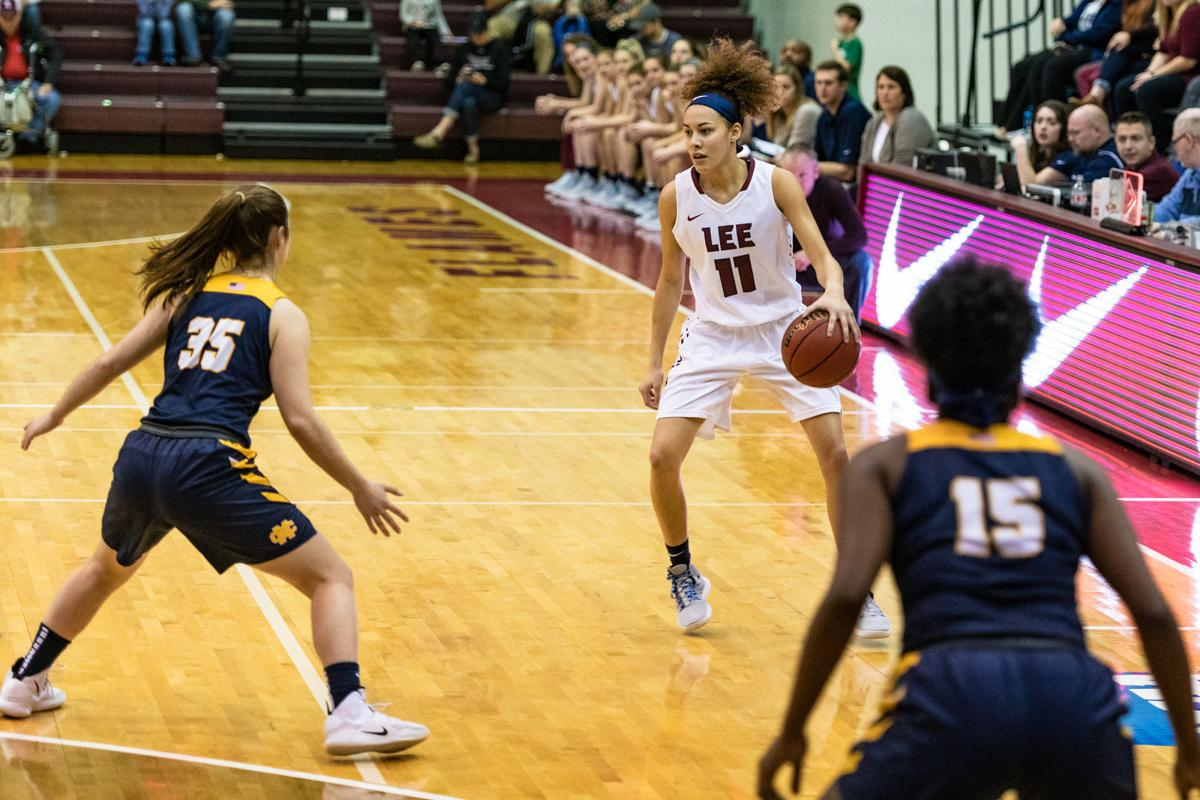 Abby Bertram led the Lady Flames with 13 points against the Mississippi College Choctaws.  Photo courtesy Lee Flames