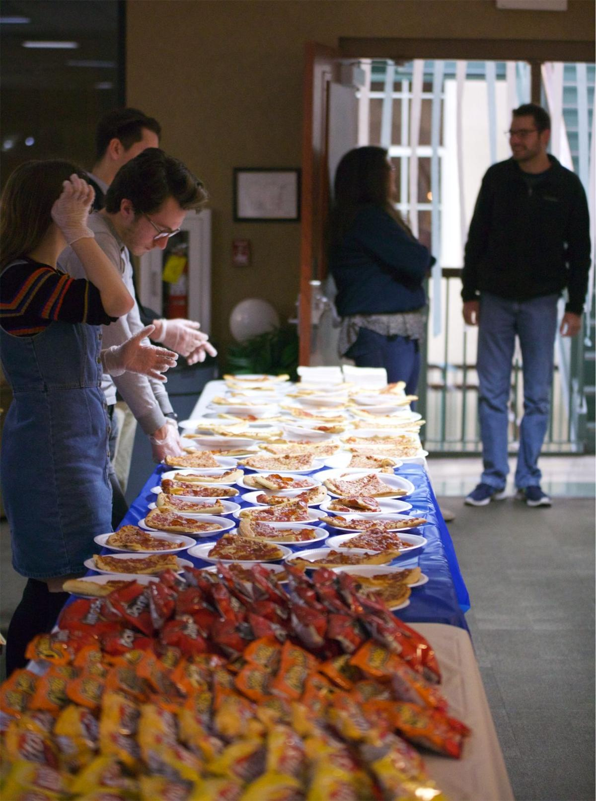 After the first night of Convocation, a mixer was put on by the Student Leadership Council. Snacks, pizza and sandwiches were served.  Photo by John David Clark