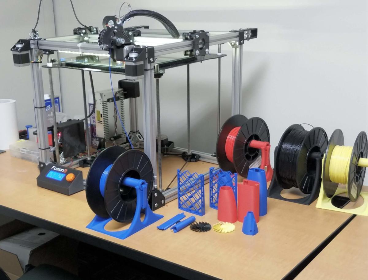 The 3D printer is Located in the lower level of Squires Library.  Photo courtesy of Michael Sturgeon