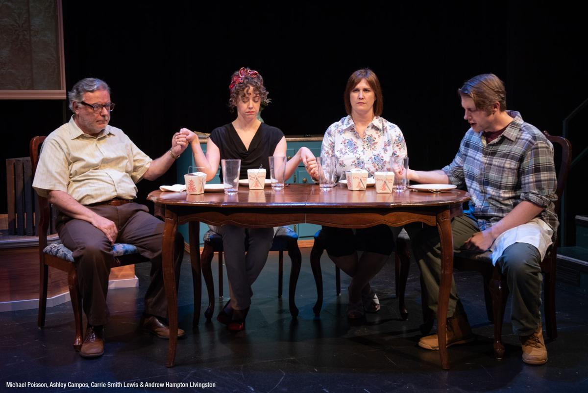 "Michael Poisson, Ashley Campos, Carrie Smith Lewis, and Andrew Hampton Livingston perform ""Dough and Cookies,"" written by Stacey Isom Campbell, at the Barter Theater.  Photo by Billie Wheeler, Courtesy of Stacey Isom Campbell"