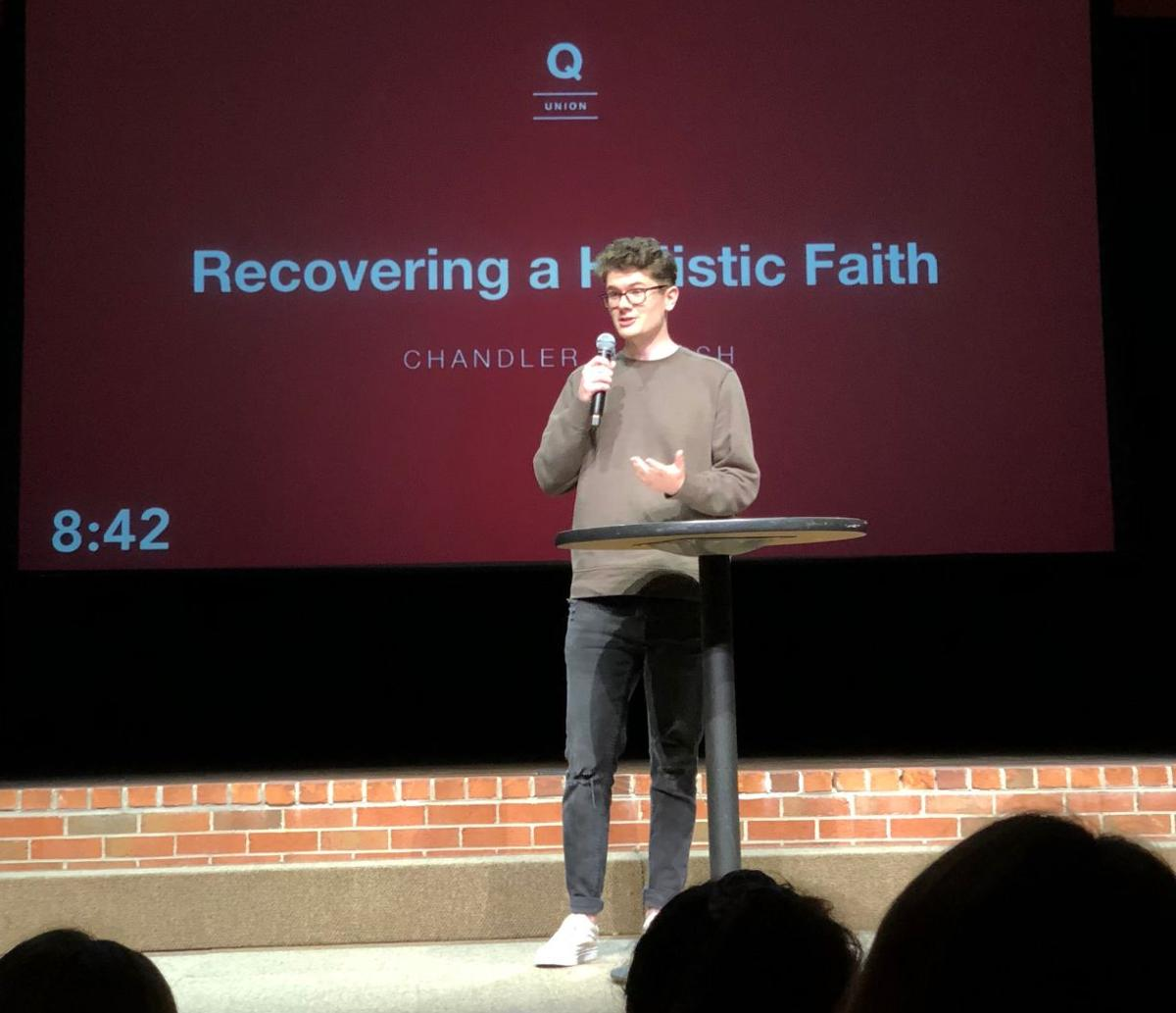 """Senior Communications major Chandler McCosh delivered his talk titled """"Recovering a Holistic Faith"""" at Thursday evening's Q Union conference.  Photo courtesy of Matthew Taylor"""
