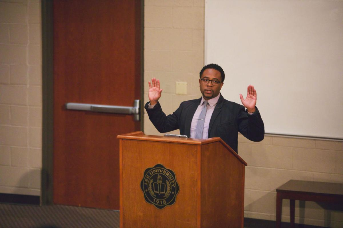 Jemar Tisby speaks on the relationship between activism and history during a guest lecture at Lee University.  Photo by John David Clark, Photography Editor