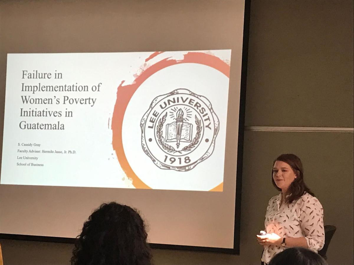 McNair scholar and senior international business major Cassidy Gray recently presented her research on how women in Guatemala are suffering from a lack of economic growth.  Courtesy of Cassidy Gray