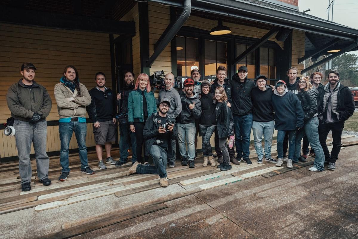 The crew after a cold day of filming.  Courtesy of Media Services, by William Vest