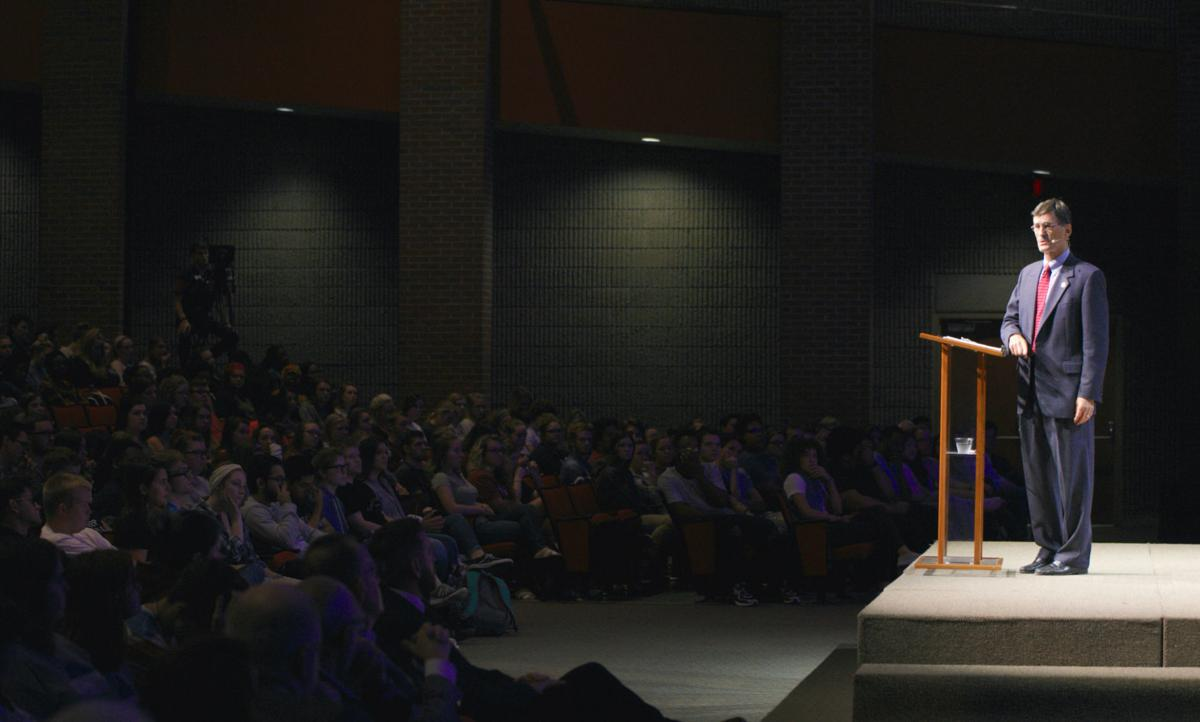 Paul Conn addresses the student body at chapel regarding the sexual assault in Mayfield Annex.  Courtesy of John David Clark, Photography Editor
