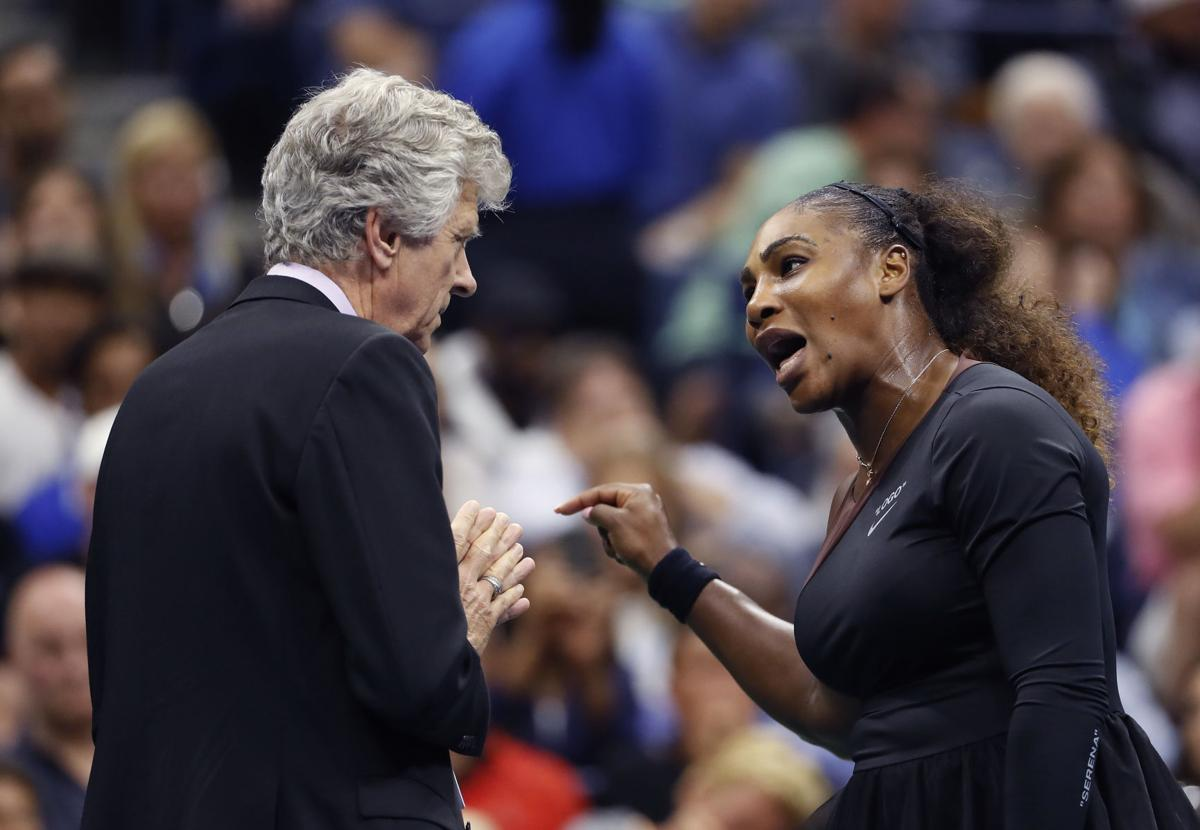 Serena Williams, right, talks with referee Brian Earley during the women's final of the U.S. Open tennis tournament against Naomi Osaka, of Japan, Saturday, Sept. 8, 2018, in New York. (AP Photo/Adam Hunger)  AP Photo/Adam Hunger