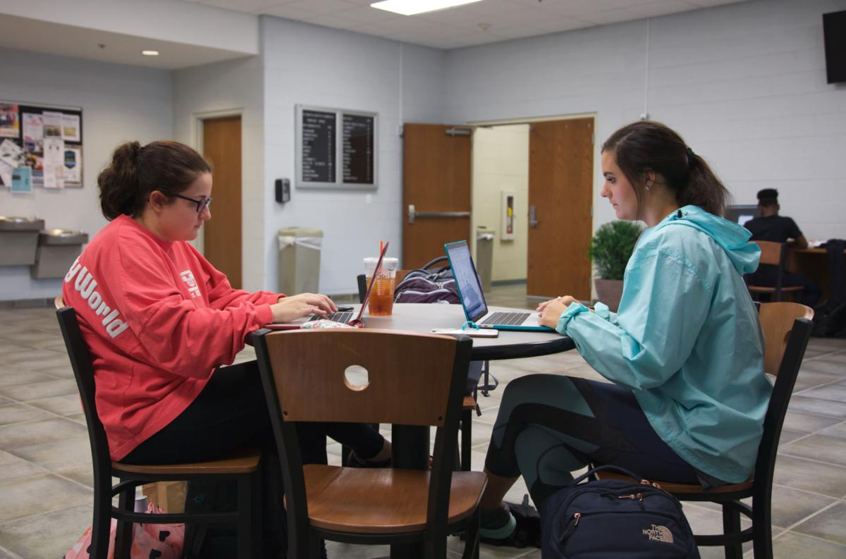 Kayla Evans (left) and Olivia Dillard (right) study in the Science and Math Complex.  Photo By John David Clark, Photography Editor