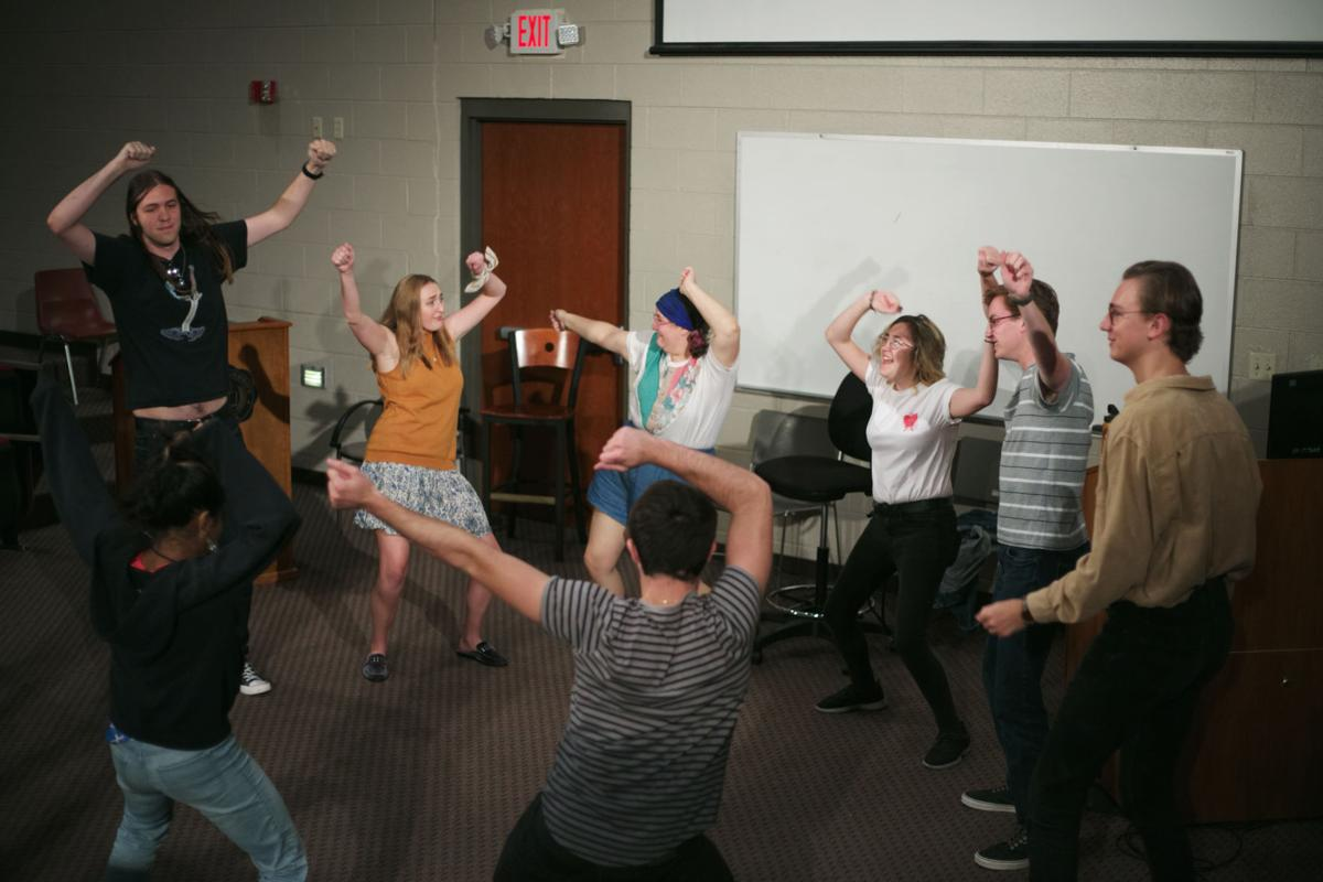 Shenanigans improv team warms up at the start start of their rehearsal.  Photo by John David Clark, Photography Editor