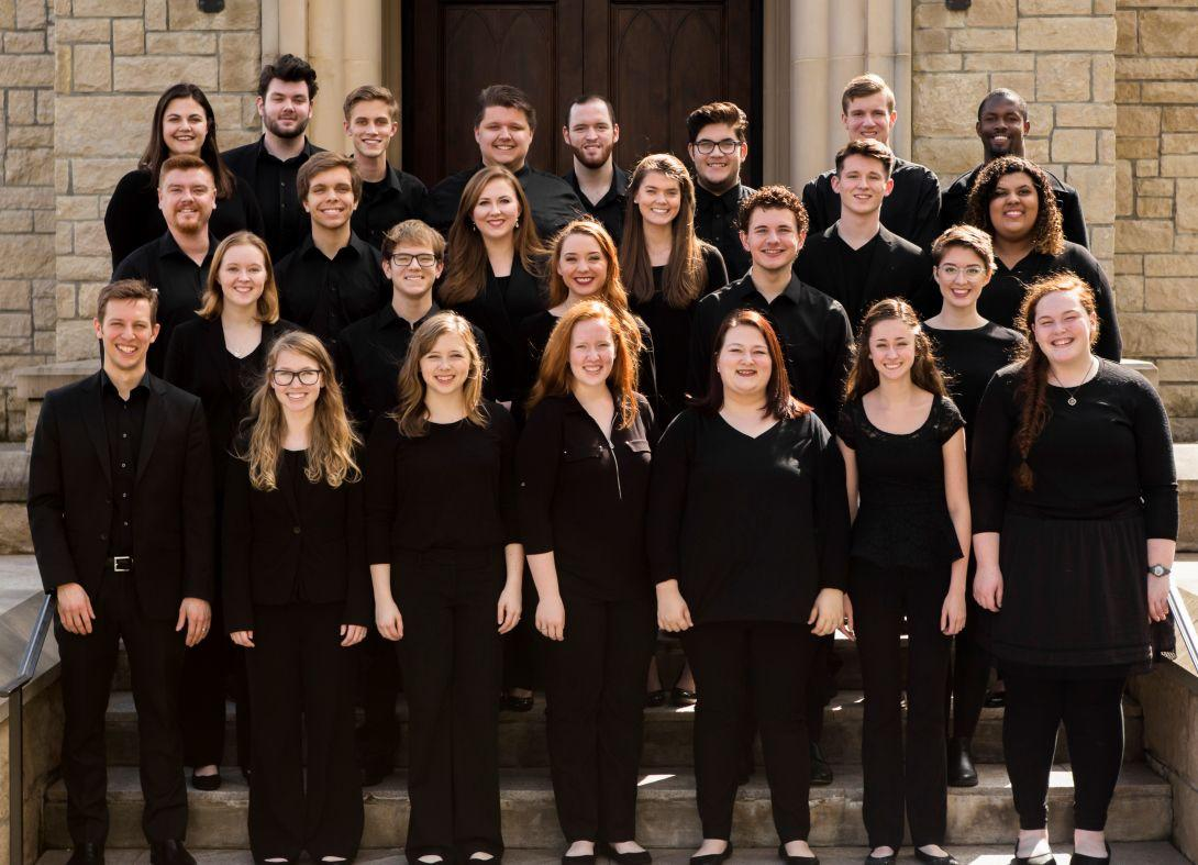 """""""I think the audience responded very positively to these pieces,"""" Assistant Professor of Choral Music and director Dr. Jonathan Rodgers said about the two featured student compositions. """"Many students were in attendance and knew Katie or Nora. They were ecstatic about being able to support their friends.""""  Courtesy of Lee University Office of Public Relations"""
