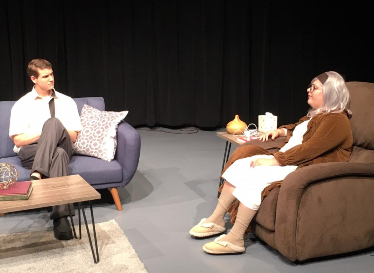 """Jonathan Bouvier and Elizabeth Davenport star in the student-directed """"Marjorie Prime,"""" which opened this weekend.  Courtesy of Lee Theatre Department"""