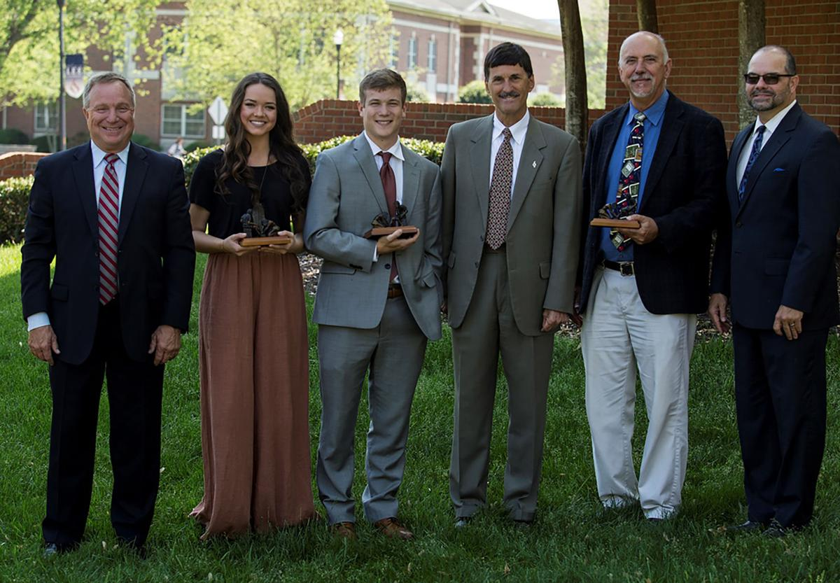 This year's CWC award winners are pictured here with William Lamb, director of Lee's Leonard Center, Lee President Paul Conn and Jimmy Harper, campus pastor. Pictured (l to r) are Lamb, Sanders, Price, Conn, Kamm and Harper.  Photo courtesy of the Lee University Public Relations office
