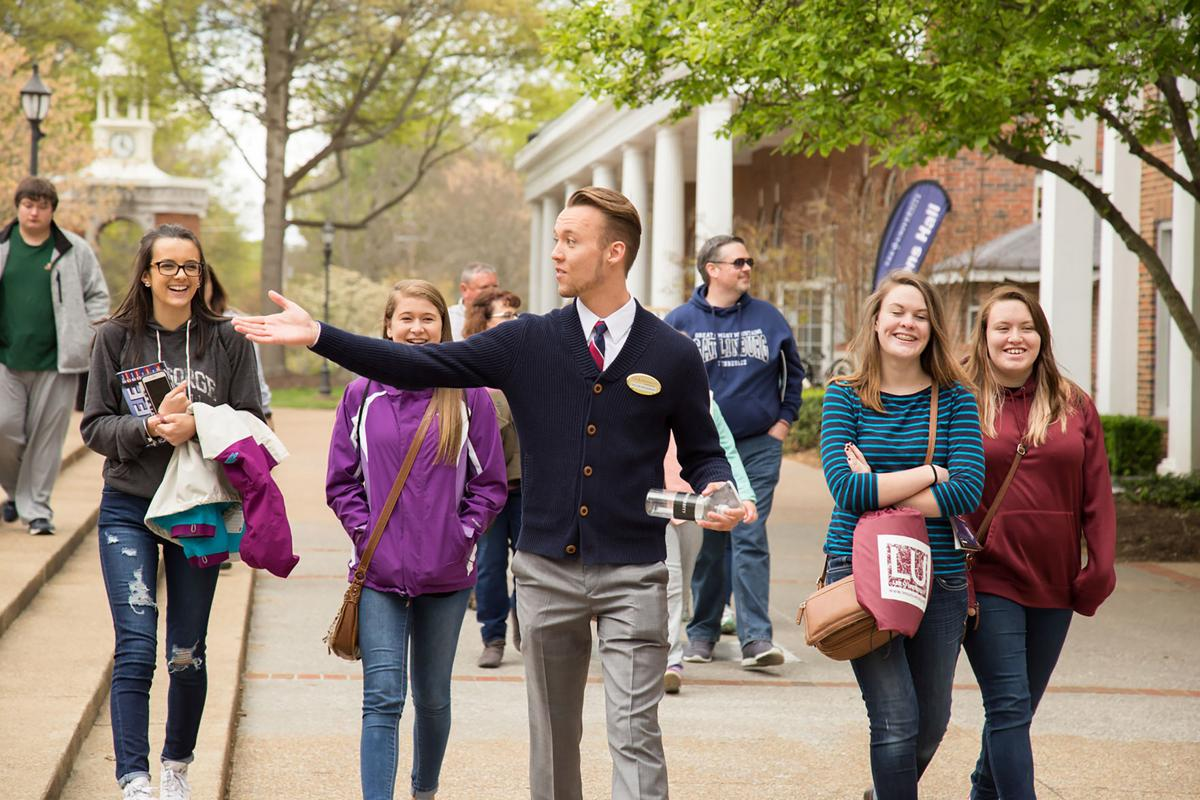 Visitors are led on a campus tour during Lee Day 2016.  Photo courtesy of the Lee University Public Relations Office