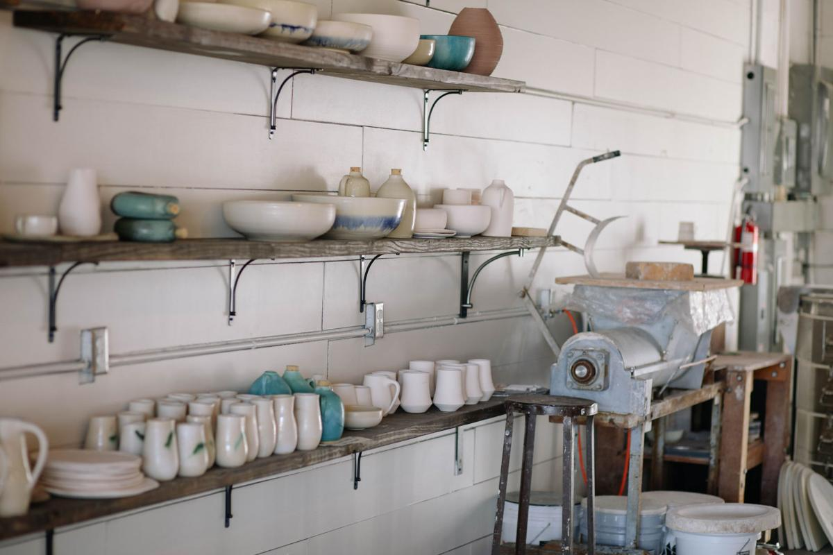 Some of the pottery at Annie Hanks Ceramics on display.  photos by Cariann Bradley