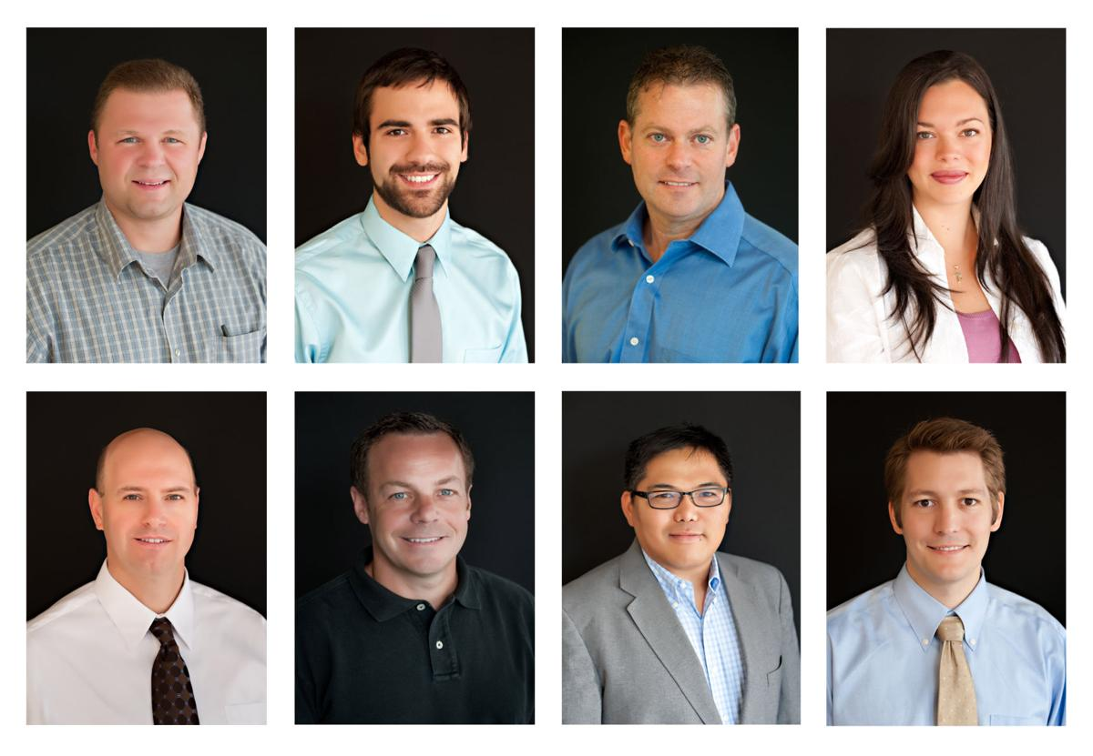 Pictured here (from top left to bottom right) are Richard Albright, Matthew Fisher, Andrew Harnsberger, Mary Mathias-Dickerson, Brian Peterson, Randy Sheeks, Arlie Tagayuna and John Wykoff.  Graphic by Kimberly Sebring, photos courtesy of the Lee University Public Relations Office