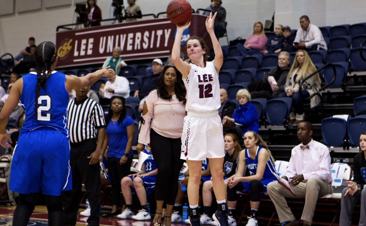 """Lady Flames soared to victory at last week's """"White-Out"""" game.  Courtesy of GoLeeFlames"""