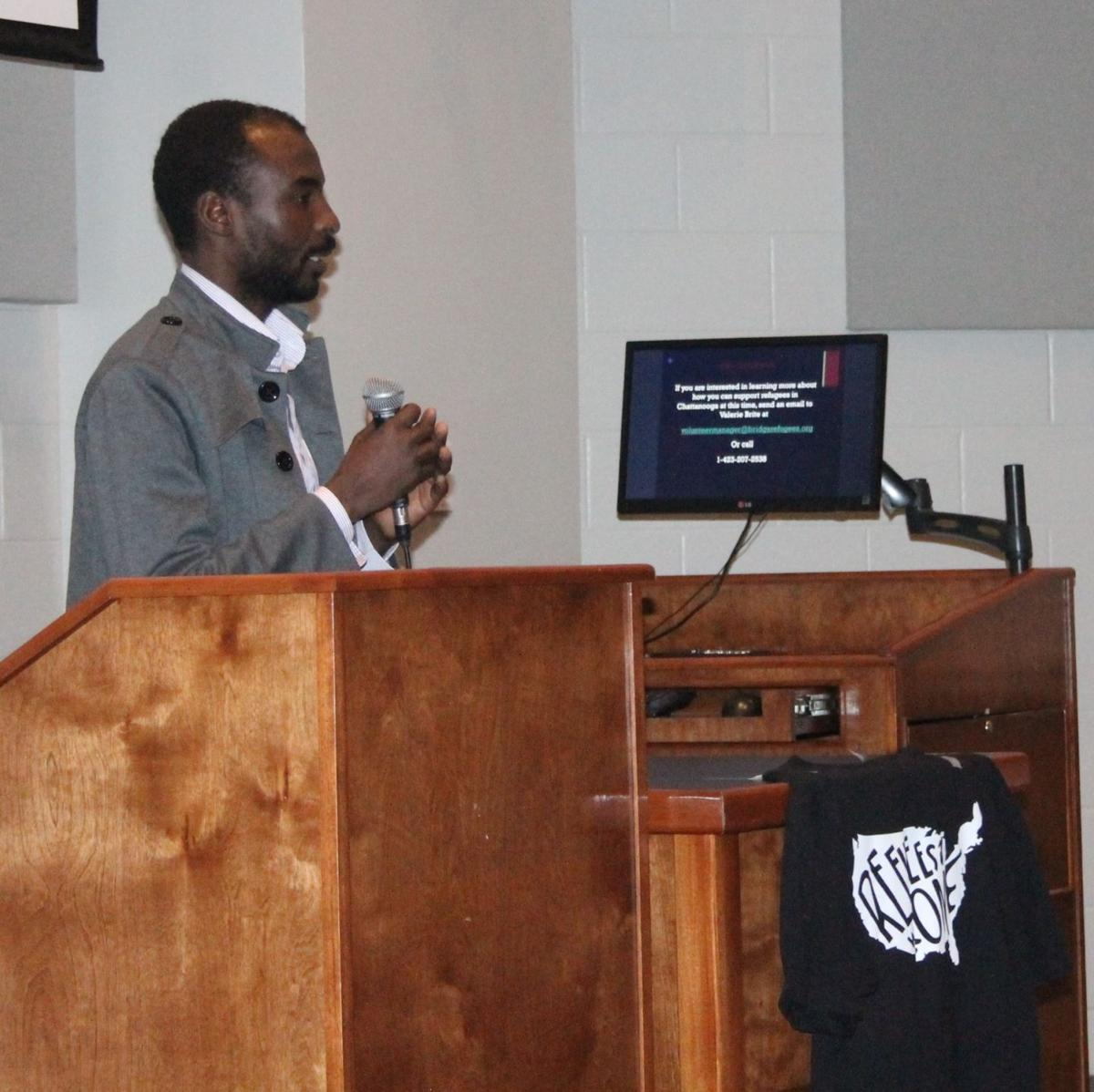 Yahya speaks during the panel.  photo courtesy of the Cleveland Daily Banner/Saralyn Norkus