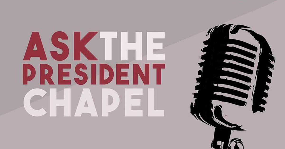 """Lee's annual """"Ask the President"""" chapel will begin at 10:40 a.m. on Tuesday, Feb. 28 in the Conn Center.  Designed by Ariana Kim and modified by Kaitlyn Anderson. Courtesy of the Lee University President's Office."""
