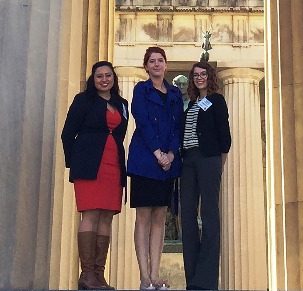 Pictured here (left to right) are Raquel Moskowitz, Melissa Haley, and Megan Thompson at Capitol Hill in Nashville for the Tennessee Intercollegiate State Legislature.  Photo courtesy of Lee University's Public Relations office