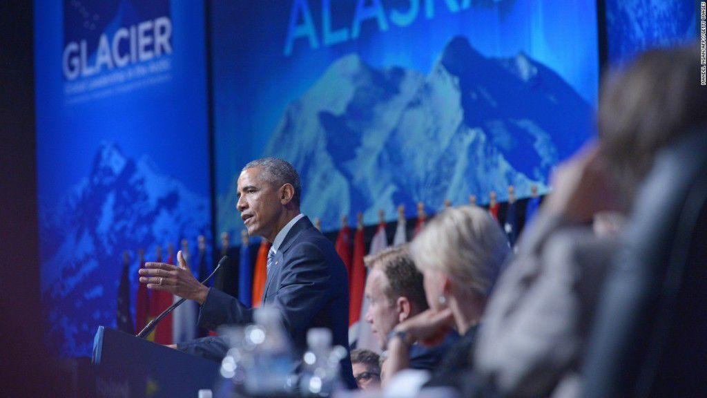 Obama speaks at the State Department-sponsored GLACIER Conference in Anchorage on Monday, Aug. 31 as part of his Alaska environmentalism tour. Photo: Getty Images
