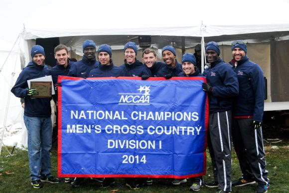 The Men's Cross Country Team celebrates the NCCAA National Championship win.Photo Courtesy of Sports Information.