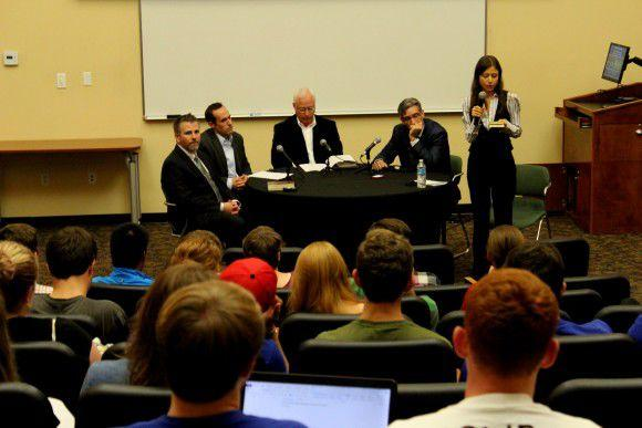 From left to right: Mark Proctor, Jared Wielfaert, Rickie Moore, Skip Jenkins and Daniela Augustine lead discussion (Photo courtesy of Brandon Schoeneweis)