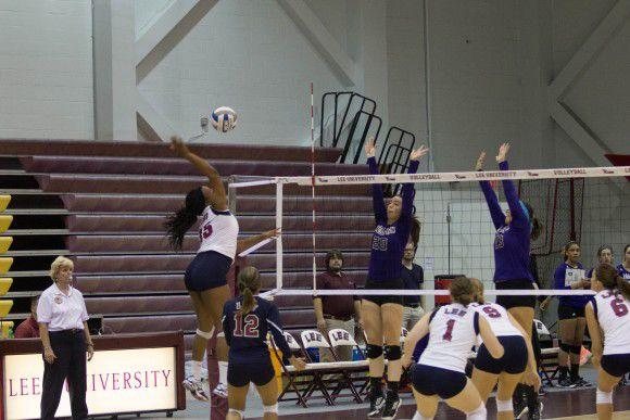Senior Latrice Johnson spikes a shot against Kentucky Wesleyan CollegePhoto by Neethu Athimattathil