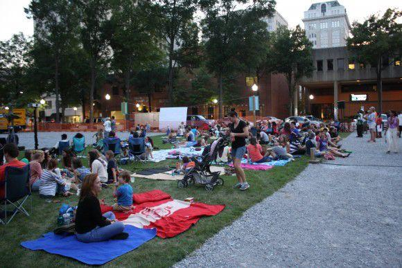 Movie goers save seats at Center Park. Photo by theutecho.com