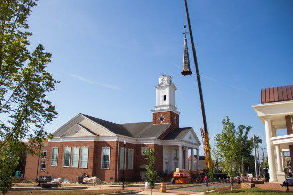 The steeple was removed from Pangle Hall. (photo courtesy of Peri McIntosh).