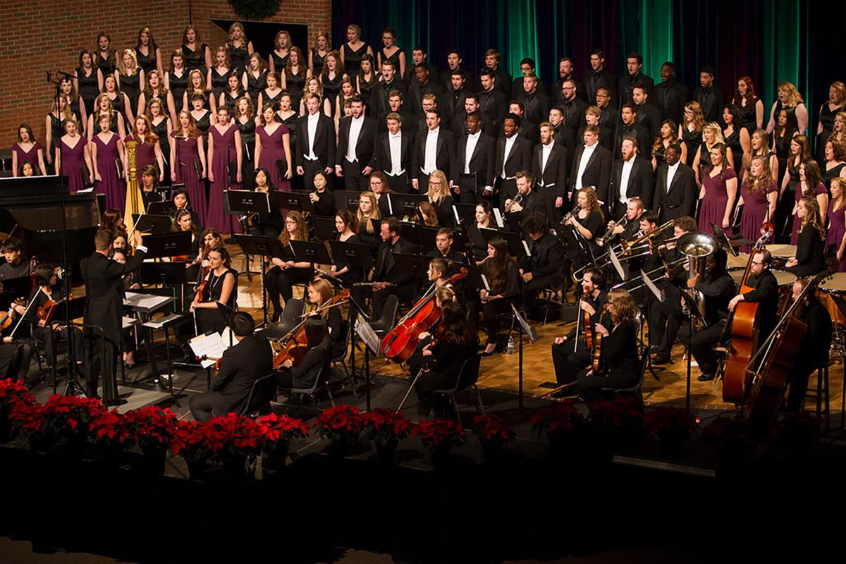 """Dr. Jonathan Rodgers conducts """"A Classic Christmas"""" in 2015.  Photo courtesy of Lee University Public Relations Office"""