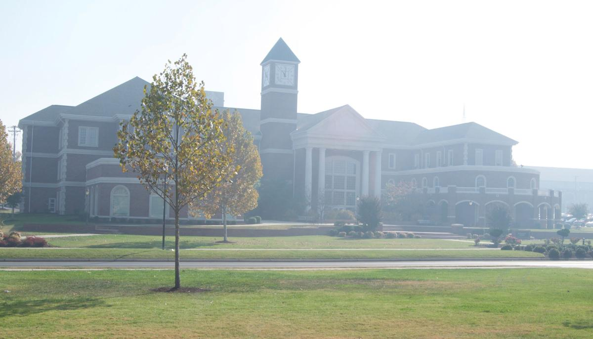 The Humanities building obscured by haze on the morning of Thursday, Nov. 17.  Photos by Kimberly Sebring