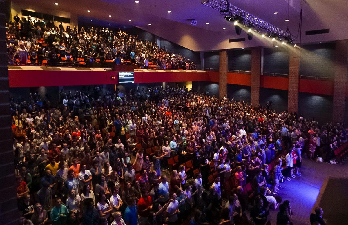 The Conn Center has stayed packed during chapel this semester.  Photo by Lily Scott
