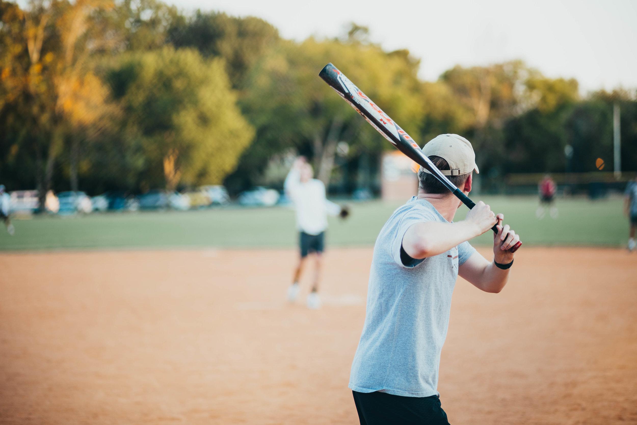 Seth Barnett up to bat for the TKO softball team. All photos by Sydney Pressley.